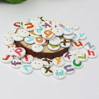 sewing accessories - Cute Holes Colorful Mixed Painted Letter Alphabet Round Wooden Sewing Button Children Scrapbooking Decor cm