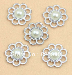Wholesale-Free Shipping 50 X Fashion Design Ivory Faux Pearl Button Silver Tone Emebellishment