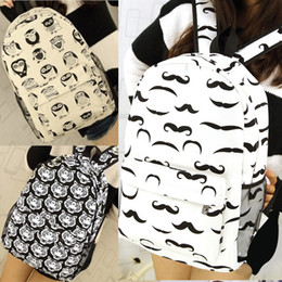 P181 Women Tiger,Owl,Mustache Printing Cartton Pattern Bag Canvas School Bags Preppy Style Backpack White Black School Backpacks