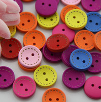 beautiful baby quilts - Mixed seven color circle button beautiful child baby button MM L23X07 wood button Craft sewing