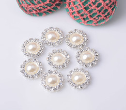 Wholesale-Free Shipping Rhinestone Pearl Buttons Flat Back 11mm 20pcs lot Silver Color Used On Flower Center