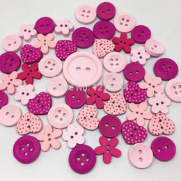 Wholesale-150pcs Pink Mix Wood Buttons 13mm-25mm Heart Round Dots Flower Button Sewing Cardmaking Accessories Scrapbooking Crafts Botones