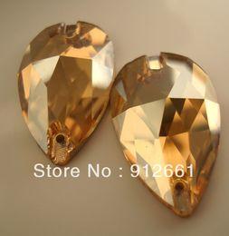Wholesale-Free shipping(36pcs lot)Crystal golden shadow PEAR shape w-3230 Sew On rhinestone Flat Back rhinestone 17*28mm