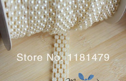 Wholesale row cross mm plastic flat back pearl chain white cabochon beaded trims sewing appliques embellishment diy projects craft kit