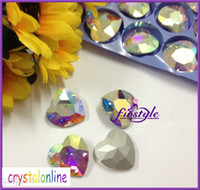 faceted glass stones - Crystal AB color mm heart shape fancy stone peach Faceted Glass crystal beads pointback