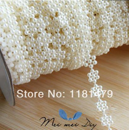 Wholesale meter10mm plastic flat back snow pearl chain white cabochon beaded trims sewing appliques embellishment diy projects craft kit