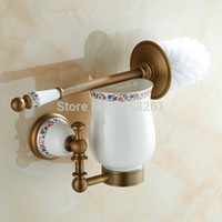 toilet brush - Antique Luxury Wall Mounted Bathroom Toilet Brush Holder with Cup Polished Bathroom Accessories F