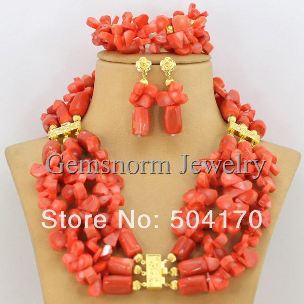Splendid African Coral Beads Jewelry Set Handmade African Wedding Beads Jewelry Set Nigerian ...