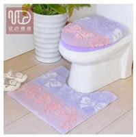 bathroom set purple - Purple Butterfly Toilet Piece Set Toilet Lid Cover O ring U Shape Floor Mat Bathroom Toilet Seat Cushion Carpet