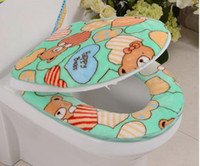 bear bathroom set - Cartoon print lovely bear thickening bathroom soft coral fleece zipper toilet lid set toilet seats piece set potty set cover