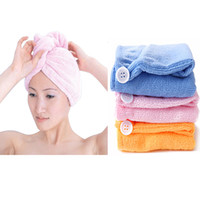 Wholesale Microfiber Bath Bathing Shower Cap Quick Dry Towel Hair Magic Drying Turban Wrap Hat Caps Towels
