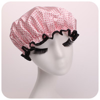 bath hood - Postage Korea double layer waterproof lace shower Cap bath thickened in adult daughter hat against the kitchen range hood