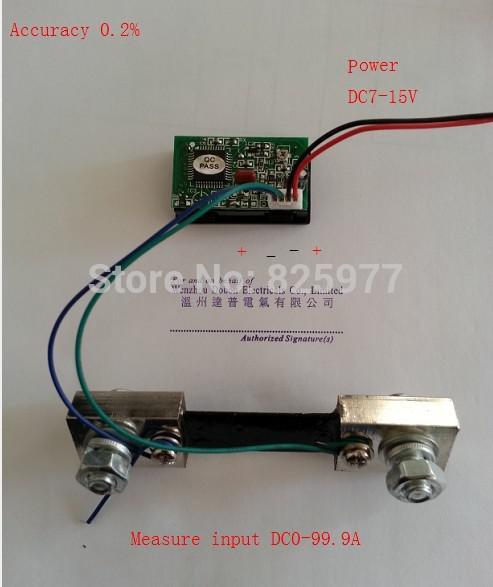 dc ammeter shunt wiring diagram dc image wiring led dc 0 100a amp gauge blue digital panel ampere meter 100a 75mv on dc ammeter