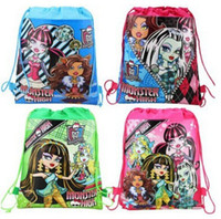 Wholesale monster high waterproof coated non woven string backpack for kids children s school bag beach bags