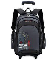 bag com - Three wheeled Children Trolley School Bag Large Capacity Backpack on Wheels Mochila Escolar Com Rodinhas Running Wheels Book Bag