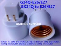 Wholesale 5pcs G24Q to E26 E27 GX24Q to E26 E27 G24Q to E26 E27 PIN GX24Q to E26 E27LED socket adapter LampHolder