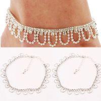 Cheap 1PC White Elegant Rhinestone Foot Chain Women Girls Bead Chain Pendants Ankle Bracelet New Fashion Jewelry Body-0122-WT