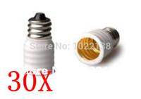 Wholesale 30pcs E12 to E14 LED Socket adapter lamp base E12 E14 Converter Extender bulb base lamp holder With Tracking No