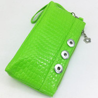 Cheap 2015 Newest Crocodile snap button jewelry leather wallet bag OEM, ODM QB102 (fit 18mm 20mm snaps)