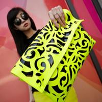 Cheap 2015 vintage clutch neon color hollow out envelope bag clutches purse party bag candy color handbag evening bags crossbody bags