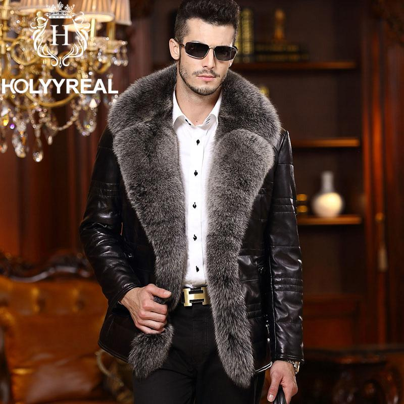 Brand New Men's Fashion Genuine Sheepskin Down Leather Coat With ...
