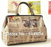 Wholesale New Retro Canvas Newspaper Travel bags Vintage Style paper Womens Handbag Tote Shoulder Bag