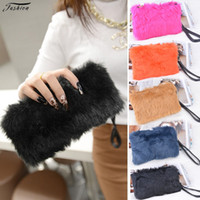 Wholesale 2015 Candy color Women s Wedding Party Handbag Day Clutch Purse Long Faux Fur bags Multifunction Zipper Wallet color