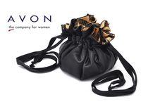avon - AVON new arrival Black satin lining stripe fold storage bag cosmetic bag Model No YW170
