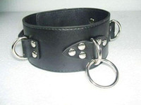 Wholesale unisex Luxury Leather Bondage gear top quality black collar A004 Sex toys sex products