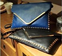 Cheap New 2015 bolsos women messenger bags Envelope cluth bag and women handbag rivet studded casual satchel bag