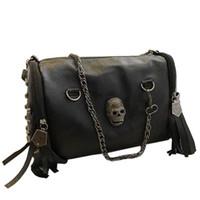 Cheap New skull rivet bags women's map handbag designer shoulder bag vintage treasure black messenger bags for grils Free Shipping