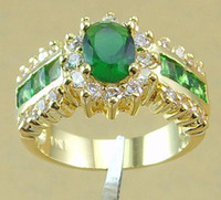 Wholesale women charming ring ct clear emerald green gemstone rings k yellow GP rings beautiful jewelry