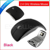 Wholesale USB Wireless Foldable Optical Mouse For PC Laptop Black GHz A0656 Christmas Sale
