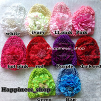 kufi hats - set toddler baby Kids girl crochet hat Knitted cap with Big Peony flowers kufi hats Colors