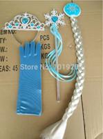 Wholesale Frozen princess crown magic wand braid gloves set elas and anna princess set