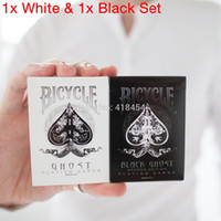 magic deck - 2 Pack Ellusionist WHITE amp BLACK Ghost Deck Playing Cards Bicycle Magic Tricks