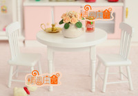 Wholesale Wooden toys kitchen mini dollhouse furniture white dining table chair