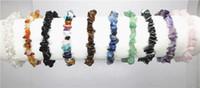 Precio de Chip stone bracelet-semi naturales brazalete de piedras preciosas, naturales 5 cuentas de piedra ~ 8 mm de viruta se extienden encanto de las mujeres de la pulsera de la joyería de chicas