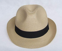 Wholesale Fashion Straw Caps Hats Fedora Hat Cap Spring Summer Caps Unisex White Coffee Black khaiki colour