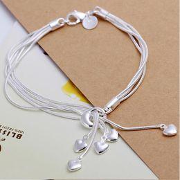 Wholesale-Fashion Charm 925 sterling Silver Muti Line Bracelets Snake Chain Hearts Braclets For Women Jewelry Pulseras de Plata 925 H067