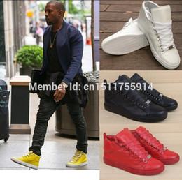 Wholesale Chaussures de marque Red Hommes Haute Qualité lacets Caoutchouc Bottom haut dessus Débarrasser Chaussures de sport loisir mode de Sneakers amant de cuir