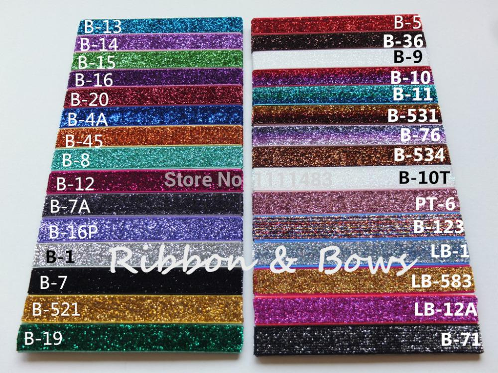 "Wholesale-MOQ 5 yards per color glitter elastic 5/8"" 16mm glitter Velvet Ribbon FOE DIY headbands hair ties hairband Free Shipping"