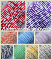 Wholesale fold over elastic MM printed Chevron FOE for DIY hairbows elastic ribbon chevron FOE