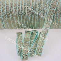 aqua metallic - factory direct gold foil fold over elastic ribbon custom print quot Aqua elastic ribbon gold metallic damask