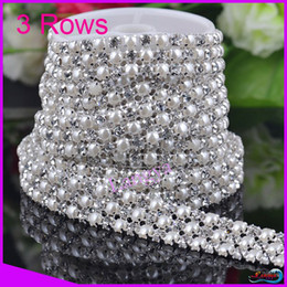 Wholesale-LY13431 Rhinestone pearl trimming mesh 3 Rows with peal and ss19 Crystal Silver base 5y roll CPAM free Sewing rhinestone mesh