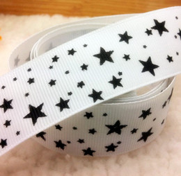 """Wholesale-Free Shipping 1"""" (25mm) width, star printed white ribbon Polyester Grosgrain ribbon, DIY hairbow accessories, gift package"""