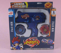 Wholesale Blue Super Top Clash Metal Beyblade Spinning Tops Toys With Two Beyblade One Handle
