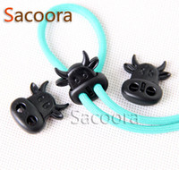 cord stoppers - 50pcs pack Cord Lock Stopper Plastic Black Ox Cow Head Style Toggle Clip For Paracord Necklace Hole Size mm C0011 B1
