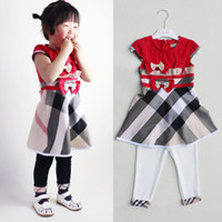 wholesale brand name clothes - Fashion baby girl clothes princess dress kids pants high quality girls clothing set suit name brand children wear solid pants