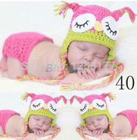 baby owl photos - 2015 Infant pink owl Crochet photo accessories Kids Knitted baby Photo Costumes animals with blanket